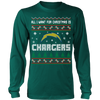 NFL - All I Want For Christmas Is San Diego Chargers Football Shirts-T-shirt-Long Sleeve Shirt-Dark Green-S-Itees Global