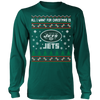NFL - All I Want For Christmas Is New York Jets Football Shirts-T-shirt-Long Sleeve Shirt-Dark Green-S-Itees Global