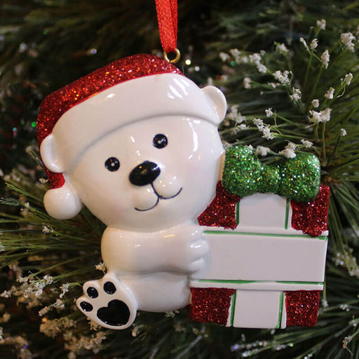 Polarbear with gifts bag Of Baby's First Personalized Christmas Ornament # 61257