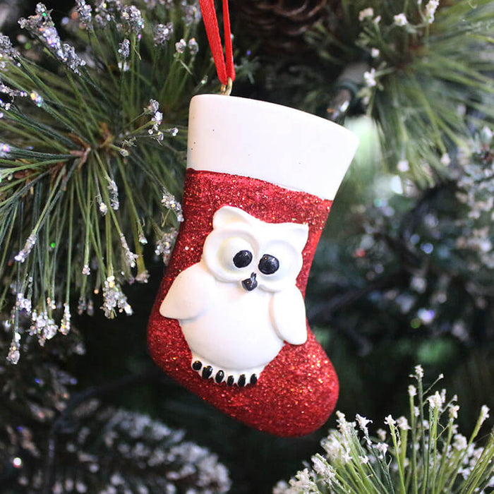 Owl and Sock Of Single  Christmas Ornament #61281