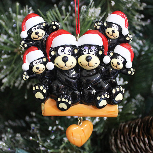 Family Christmas Ornament-Black Beer Family #61429