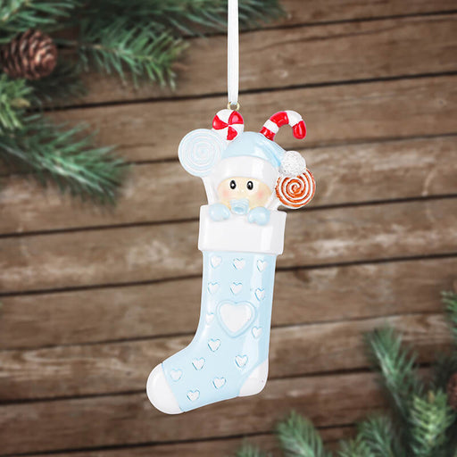 Baby With Sock Personalized Christmas Ornament #61572