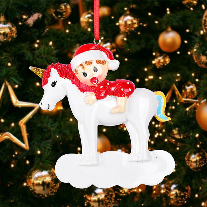 Baby With Unicorn Personalized Christmas Ornament # 61573