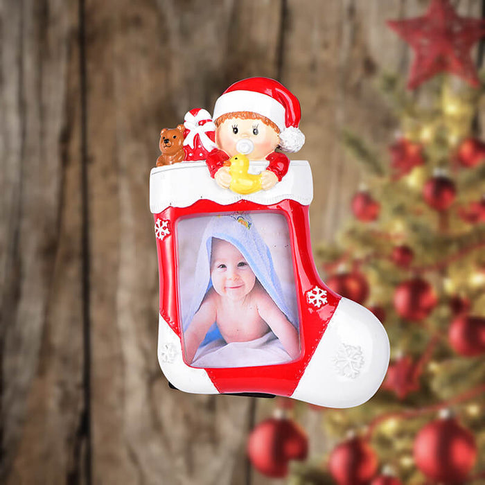 Baby with Photo Frame Personalized Christmas Ornament #61583