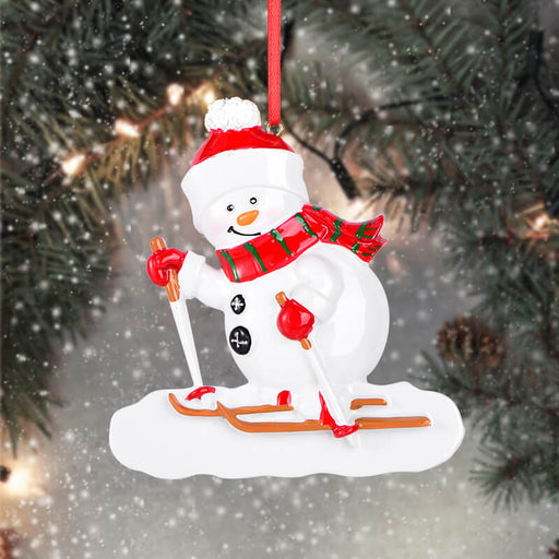 Personalized skiing snowman of  Christmas Ornament #61618