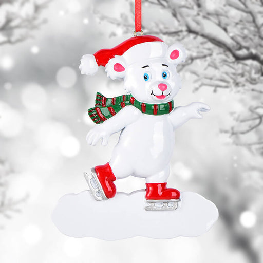 Personalized skiing polar bear of  Christmas Ornament #61619