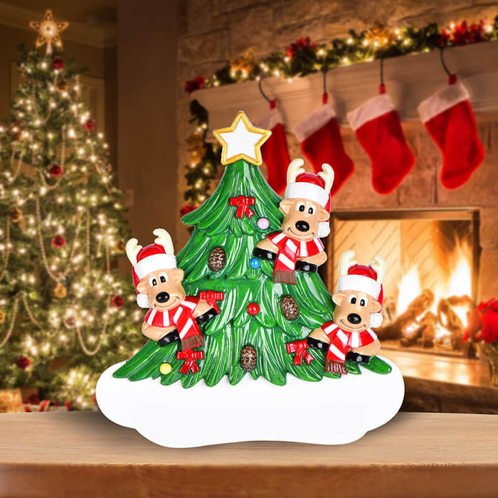 Christmas Tree  With Reindeer of Family Table Topper #62563
