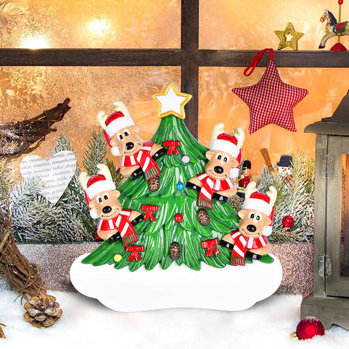 Christmas Tree  With Reindeer of Family Table Topper #62563-4