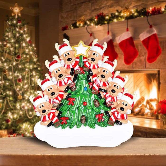 Christmas Tree  With Reindeer of Family Table Topper #62563-8