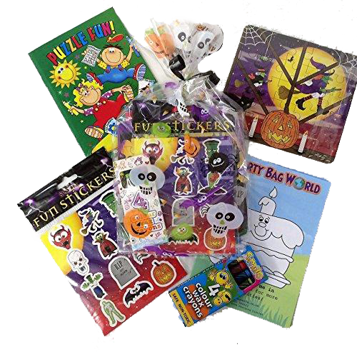 Halloween Party Bags, puzzle/colouring book, crayons, stickers, jigsaw puzzles & activity sheet