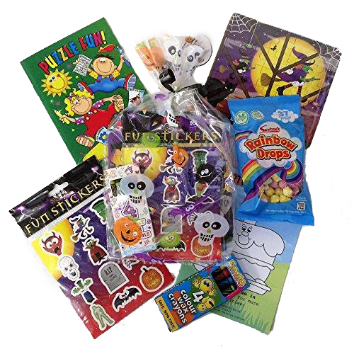 Halloween Party Bags, puzzles, colouring book, crayons, puzzles, vegetarian sweets & activity sheet.