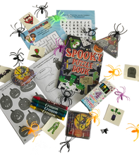 Load image into Gallery viewer, A halloween party activity pack with word puzzle, spider toys, stickers & crayons