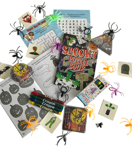 A halloween party activity pack with word puzzle, spider toys, stickers & crayons