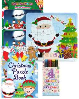 Christmas Jigsaw crayons & colouring book set for a kids party