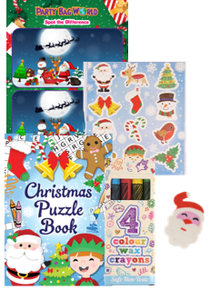 christmas activity pack for a childrens party with crayons, colouring book, santa toy & stickers