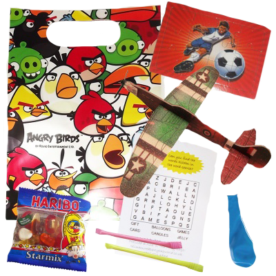 Angry Birds Party Gift bag with plane glider, football jigsaw, haribo sweets, word search, balloon & sugar straws