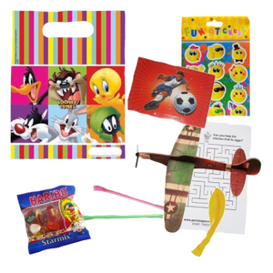 Looney Tunes Gift Party Bag with characters, word search, plane glider, Balloons & sweet goodies