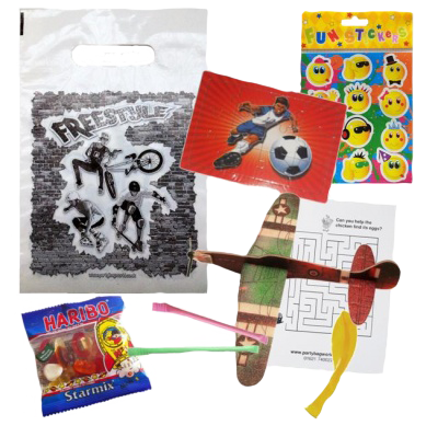 BMX Bike themed party bag set with a football jigsaw, balloons, word search, emoji stickers, haribo sweets & a camo plane glider