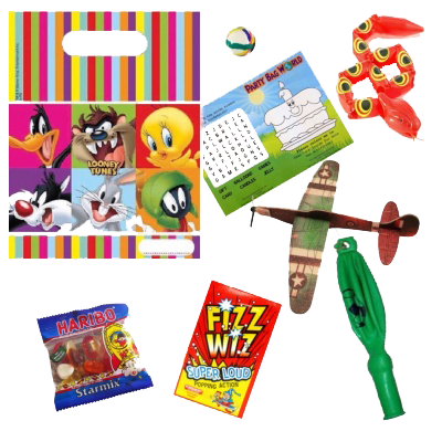 Looney Tunes Gift Party Bag with characters, word search, bouncy ball, plane glider, snake toy, sweets & blow whistle prizes