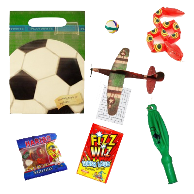 Football Party Gift bag, bouncy ball, snake toy, plane glider, word search puzzle, haribo sweets, fizz wizz sweets and whistle
