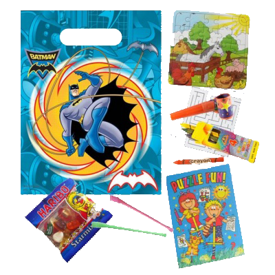 Batman Superhero bag with party themed gifts like a colouring book, haribo sweets, sugar sweets, jigsaw puzzle & crayons