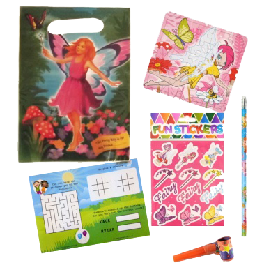 Fairy Party Bag Gift Set with Unicorn jigsaw, stickers, pencil & word search