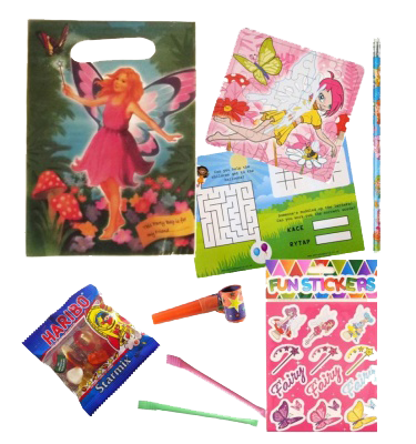 Fairy Party Bag Gift Set with Unicorn jigsaw, stickers, pencil, word search & haribo sweets