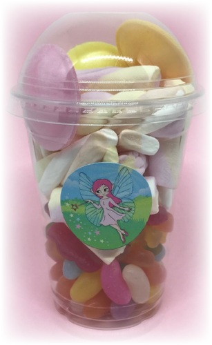 Pink Fairy Sticker on Sweet Tub