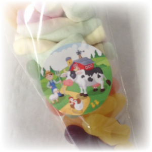 Farm animal themed sweet bags for parties