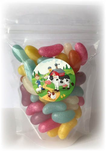 Farm Themed Jelly Bean Sweet Pouches with cow on farm sticker