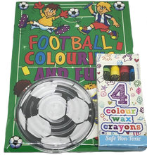 Load image into Gallery viewer, Football Themed Colouring Book, Colouring Crayons & Football puzzle game