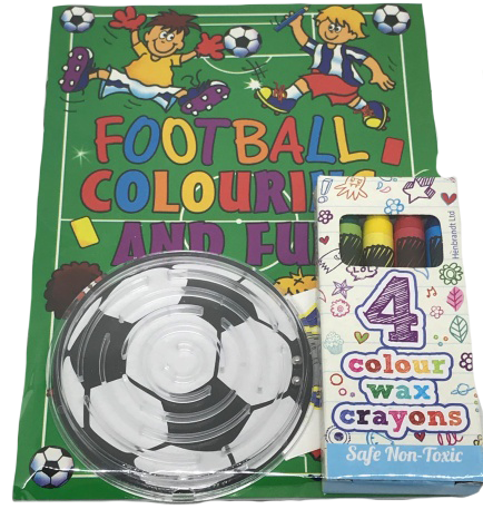 Football Themed Colouring Book, Colouring Crayons & Football puzzle game