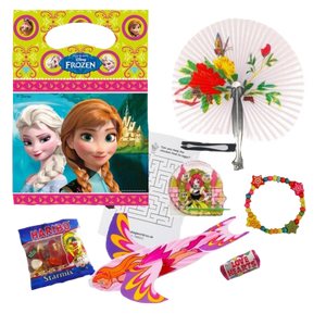 Frozen Themed Party Bags With Elsa design with haribo sweets, word search, bracelet, love heart sweets & glider