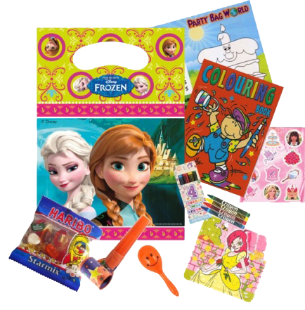 Frozen Gift Bag With Elsa & Anna on, colouring book, haribo sweet bag, and jigsaw puzzle prizes