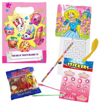 Girls Shopkins Party Theme Gift Bag with princess jigsaw, word search puzzle, balloon, stickers, sweets & pencil goodies