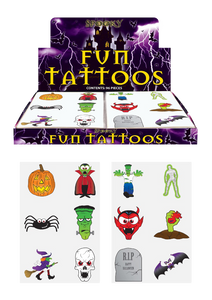 Transferable Tattoos, including Spider, Mummy, Bat, Witch, Pumpkin, Vampire and Frankenstein.y Bat Witch Pumpkin Vampire Frankenstein