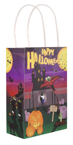 Halloween Paper Party Bag with White Handles.