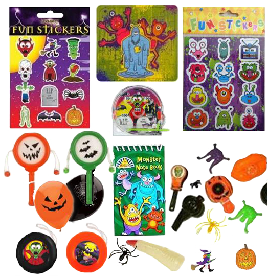 Halloween set, stickers, paddles, mini-games, yoyo, balloon, small toys.