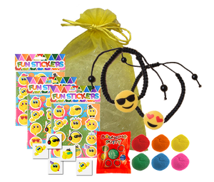 Emoji Party Bag, wristband bracelet, sticker sheet, temporary tattoo & packet of bouncing putty