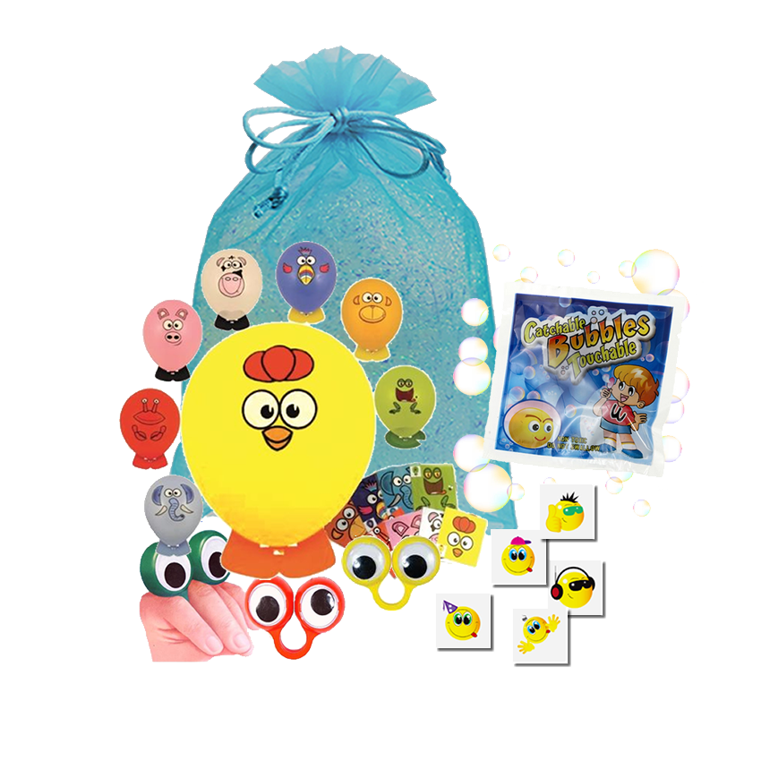Value Party Bag, create it yourself balloon, finger ring pet, catch-a-bubbles packet & party tattoo