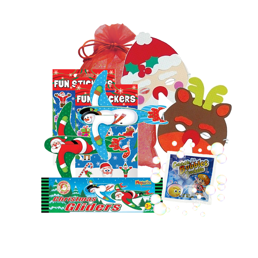 Christmas Party Bag, foam face mask, Christmas stickers, character glider & micro-touch-a-bubbles
