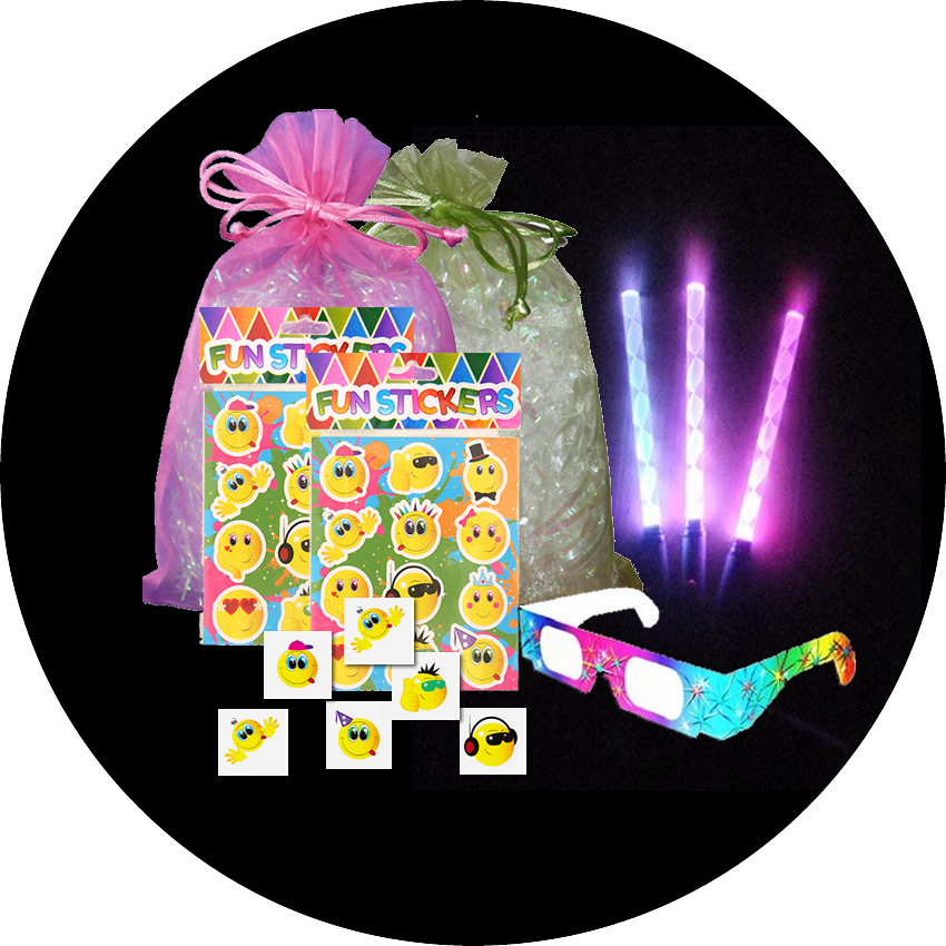 Disco Party Bag, light up bracelets , a pair of rave glasses, a sheet of stickers & a party tattoo