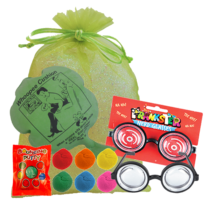 Fun & Laughter Party Bag,  whoopee cushion, pair of silly specs glasses, & packet of bouncing putty