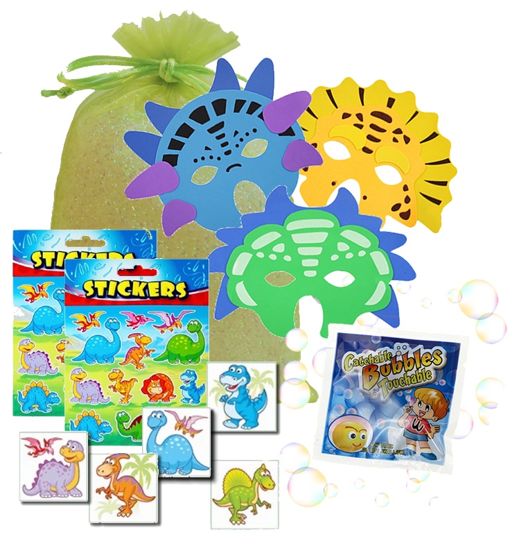 Jurassic Party Bag, dinosaur foam mask, dinosaur stickers, catch-a-bubbles packet & Dinosaur tattoo