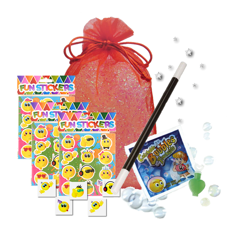 Mini Magic Party Bag,  a magic wand, sheet of stickers, party tattoo & magic catch-a-bubbles