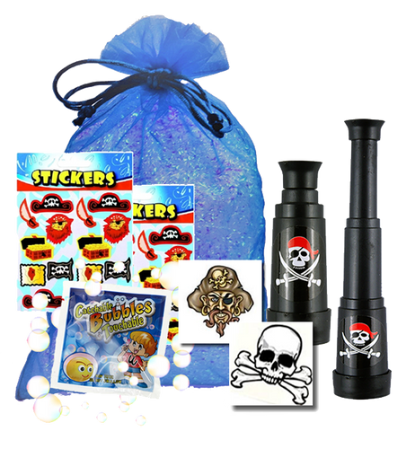 Pirate Party Bag, extending telescope, party tattoo, packet of micro touchable & sheet of stickers