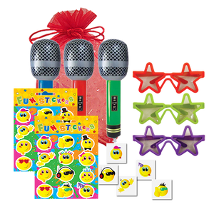 Pop Star Party Bag, inflatable microphone, pop star shades, sheet of stickers & party tattoo