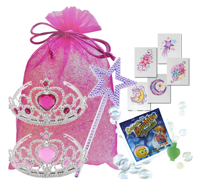 Princess party bag, jewelled headband, magical wand, Temporary Body Tattoo & micro-catch-a-bubbles