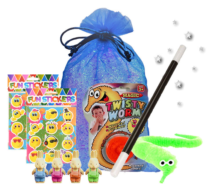 Pure Magic Party Bag, magic wand, magical twisty worm, sheet of stickers & abracadabra bunny eraser