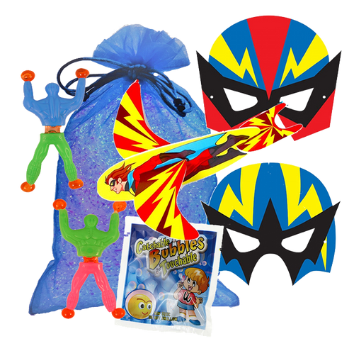 Superhero Party Bag, face mask, flying glider, a packet of catch a bubbles & wonder wall walker
